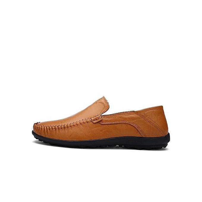 Fashion  s Soft Leather Loafer Driving Shoes Plus Brown Size-Light Brown Plus à prix pas cher  | Jumia Maroc ea85a3