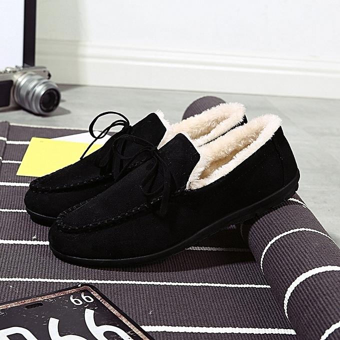 OEM New warm cotton chaussures hommes peas chaussures plus velvet Korean fashion casual chaussures driving chaussures-noir à prix pas cher