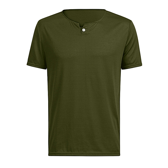 mode whiskyky store Hommes Décontracté Spbague été Solid manche courte Button O-Neck hauts chemisier T-Shirts à prix pas cher