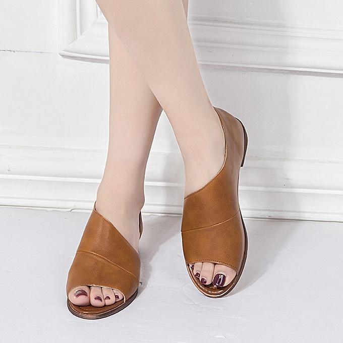 Fashion Jummoon Shop femmes Fashion Solid Couleur Pointed Toe Low Heel Rome chaussures Sandals jaune à prix pas cher