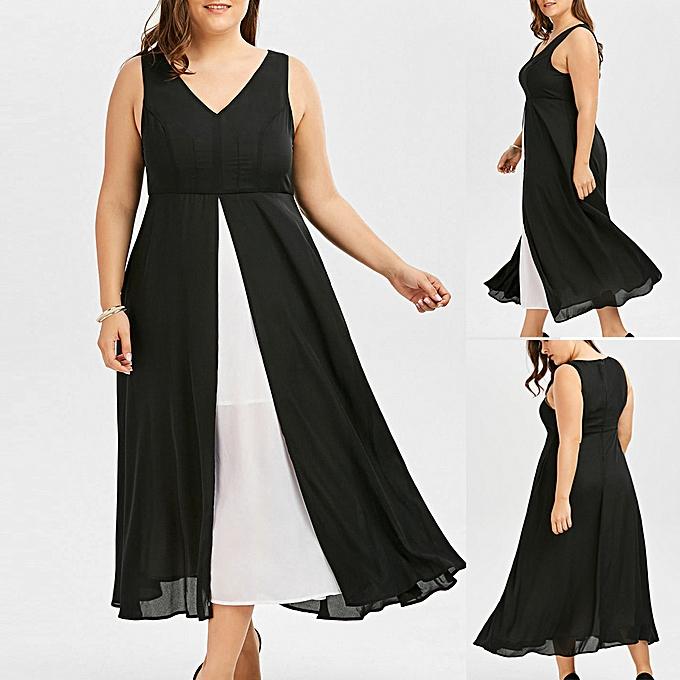 Fashion (Xiuxingzi) Fashion femmes Plus Taille V-Neck Sleeveless noir blanc Patchwork Long Dress à prix pas cher