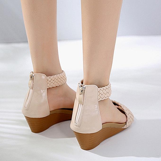 Fashion Fashion WoHommes  Sandals Summer Bohemia Bohemia Summer Shoes Wedges Weave Middle Heel Sandals -Khaki à prix pas cher  | Jumia Maroc b1aa75