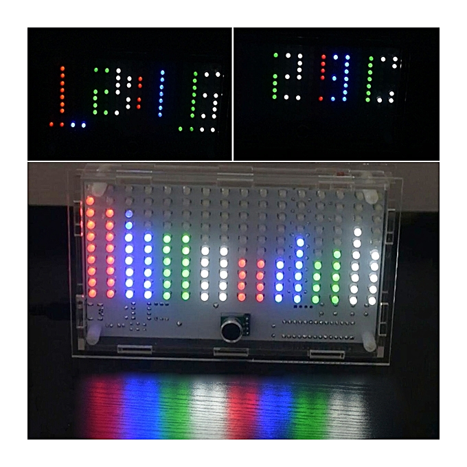 UNIVERSAL DIY FFT1625 Digital Clock Music Spectrum Electronic Kit With Temperature Display With Housing à prix pas cher