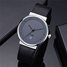 56ddb72c1 Hiamok_TOMI Casual Men 's Bussiness Retro Transparent Design Leather  Round Band Watch