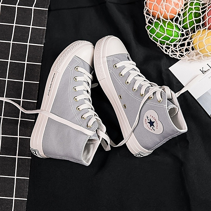 Other Stylish Female Students Korean Spring High-top Breathable Canvas Board chaussures- Light bleu à prix pas cher    Jumia Maroc
