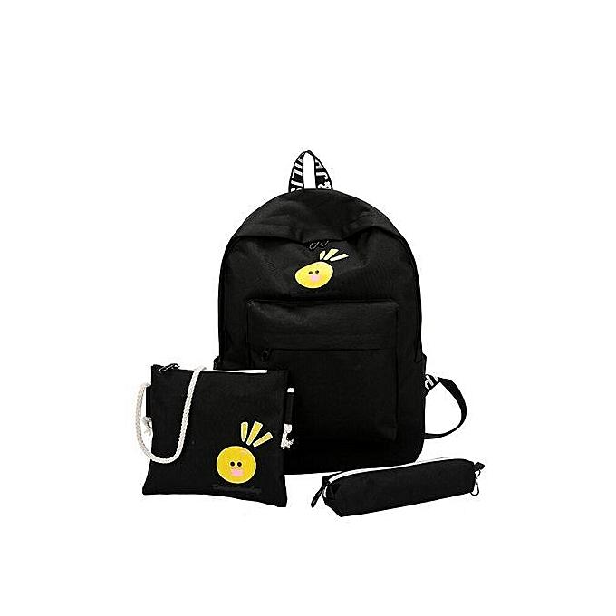 nouveauorldline 3PC toile Cute voituretoon Shoulder sacs sac à dos Girls voyage sac sac à dos BK-noir à prix pas cher