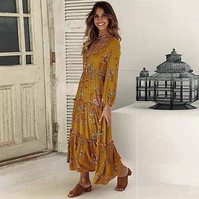 mode quanxinhshang femmes Ladies Décontracté V-Neck manche longues Floral Printed Boho Robees Long Robe à prix pas cher