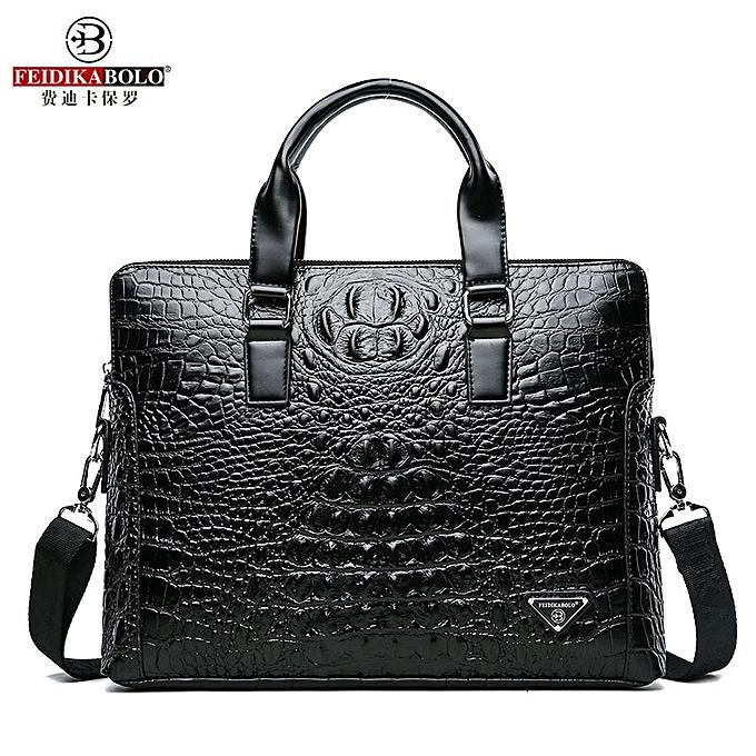 Other FEIDIKABOLO Crocodile Hommes's Briefcase Luxury noir Hommes Handsacs Messenger sacs PU cuir Man sacs  Male Man Décontracté Shoulder sac(Style One) à prix pas cher