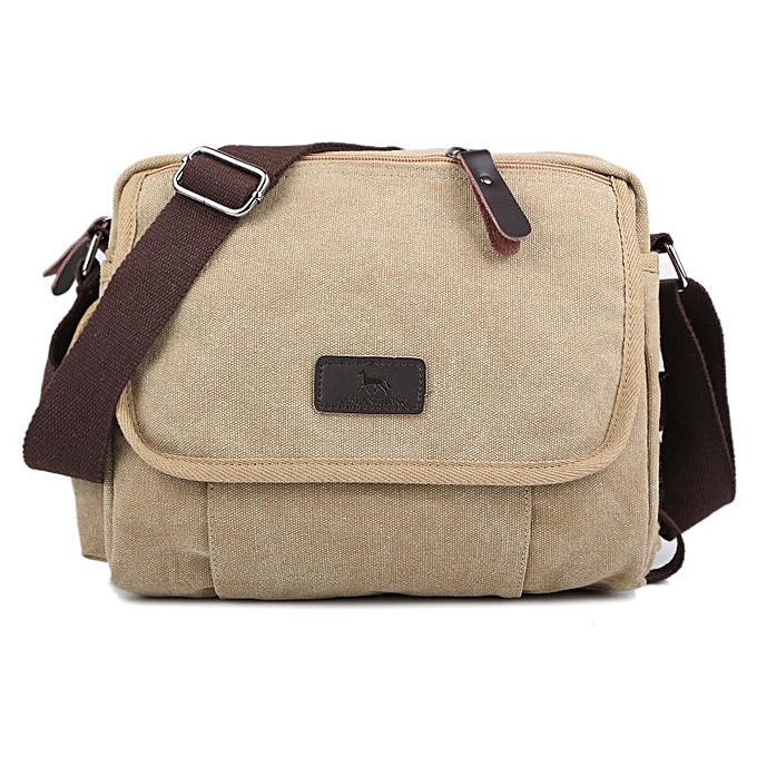 Other Casual Canvas Men Small Shoulder Bag Satchel Vintage Retro Crossbody Sling Bag For Men Leisure Male Messenger Bags Handbag 1106(Light Khaki) à prix pas cher