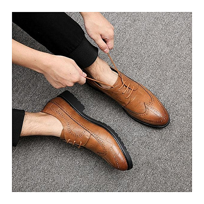 Fashion Fashion   Large Size Microfiber Microfiber Microfiber Leather Pointed Toe Brogue Business Casual Formal Shoes-EU à prix pas cher  | Jumia Maroc 8eca5a