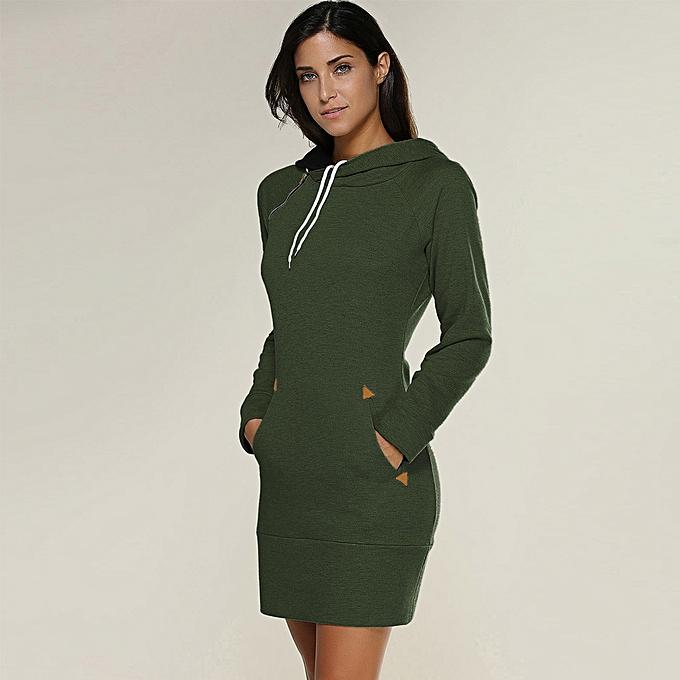 Fashion quanxinhshang femmes Ladies Hooded Sweatshirt Long Sleeve Sweater Hoodies Jumper Mini Dress à prix pas cher