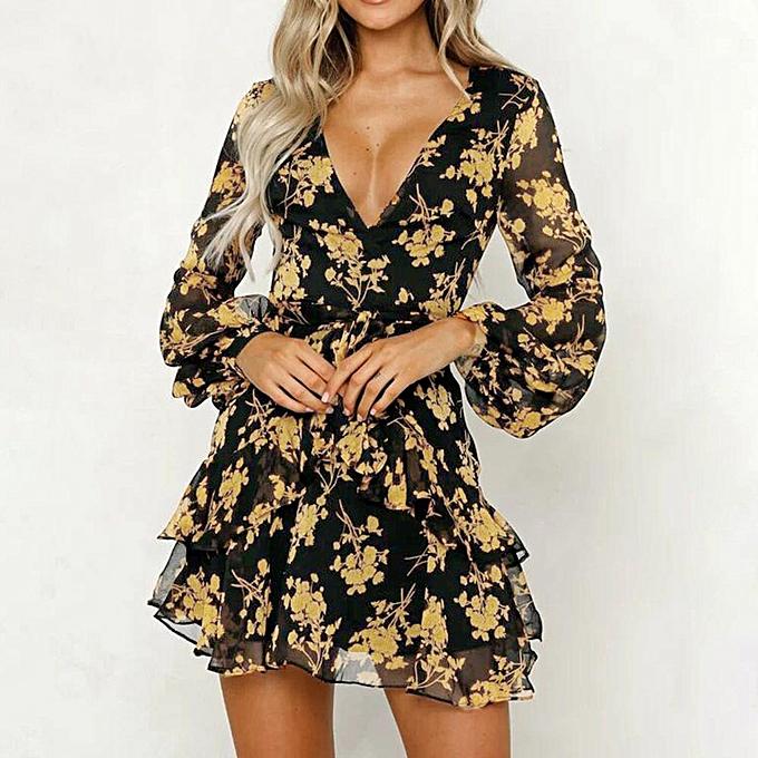 Fashion schoolcool femmes Floral Leaf Printed Long Sleeve Dress  Summer Beach Casual  Mini Dress à prix pas cher