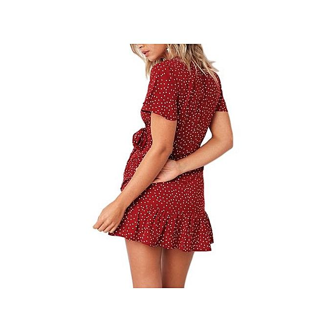 Fashion Fashion Accessories femmes Summer Dot Floral Flare V Neck Bow Ruffles Bohe Party Short Mini Dress à prix pas cher