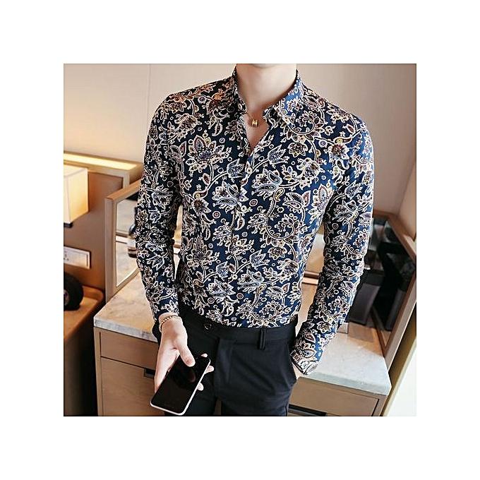 Other Hommes Floral Squar Collar Slim manche longue Shirt hauts à prix pas cher