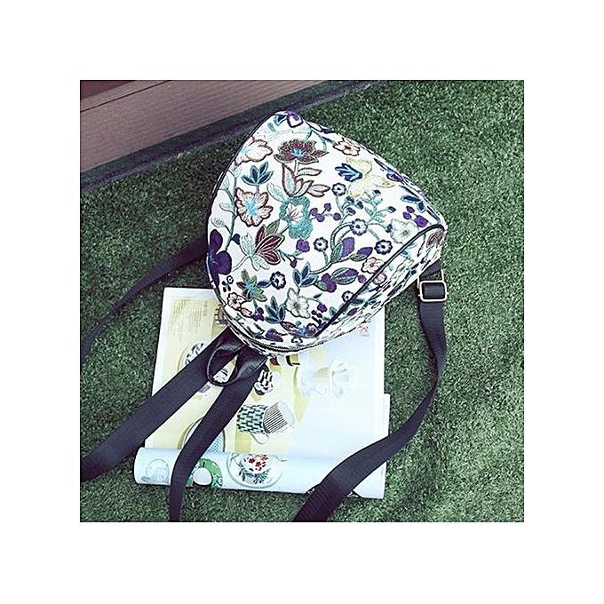 Duoya Vintage Embroidery Ethnic Canvas Backpack femmes Flower Travel Bags Schoolbag PP-violet à prix pas cher