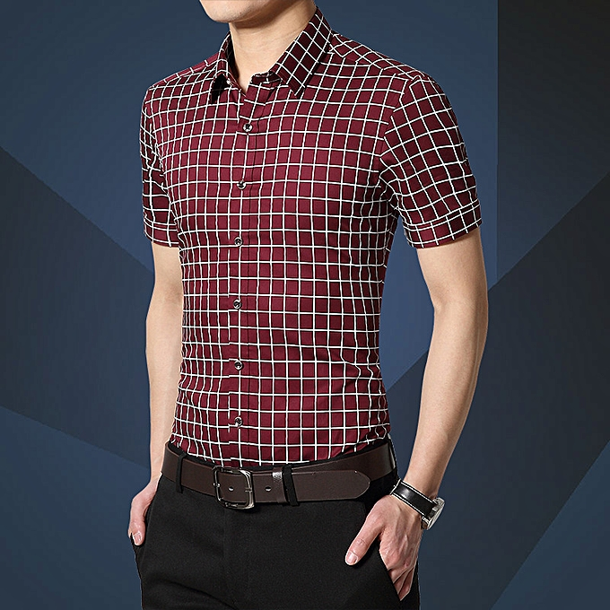 mode Hommes& 039;s courte-sleeved youth slim plaid male Affaires thin section Libre ironing shirt rouge à prix pas cher