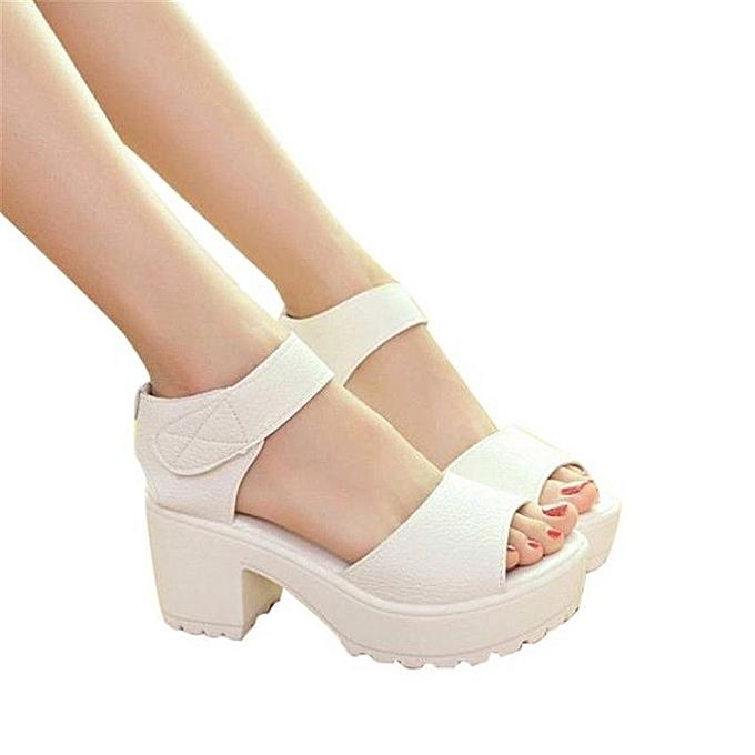 Neworldline Femmes Open Toe Peep Toe Platform High Heel Gladiator Sandals Chunky Chaussures-blanc à prix pas cher