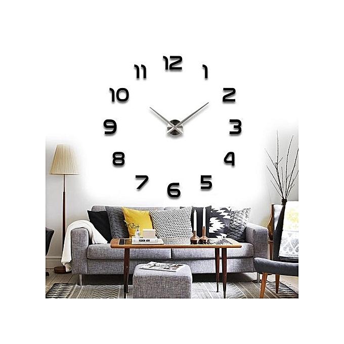 horloge murale diy autocollant miroir d cor la maison 3d