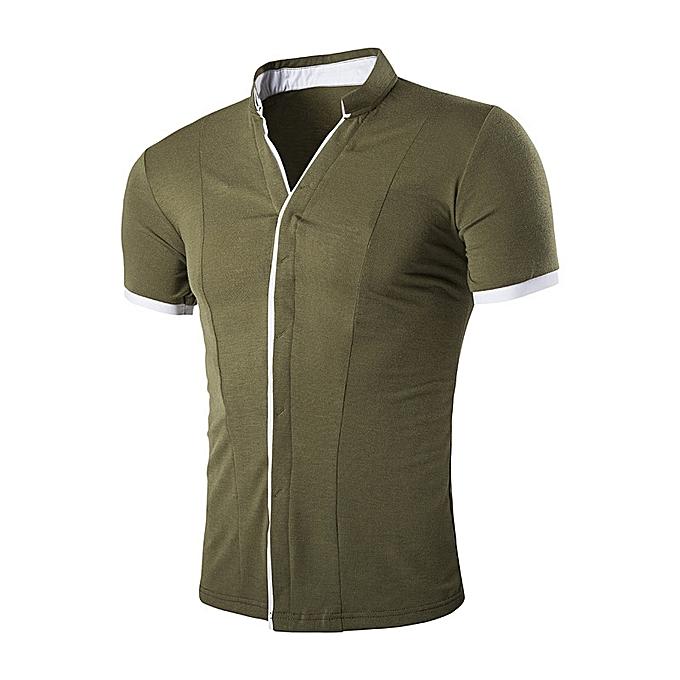 Fashion Mens Fashion Casual Slim Contrast Couleur Edge V Neck Designer Shirts à prix pas cher