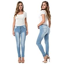 952cc4eda928d Pantalon en denim élastiqué femme poche décontractée skinny crayon jean  pantalon jean pantalon femme bleu clair