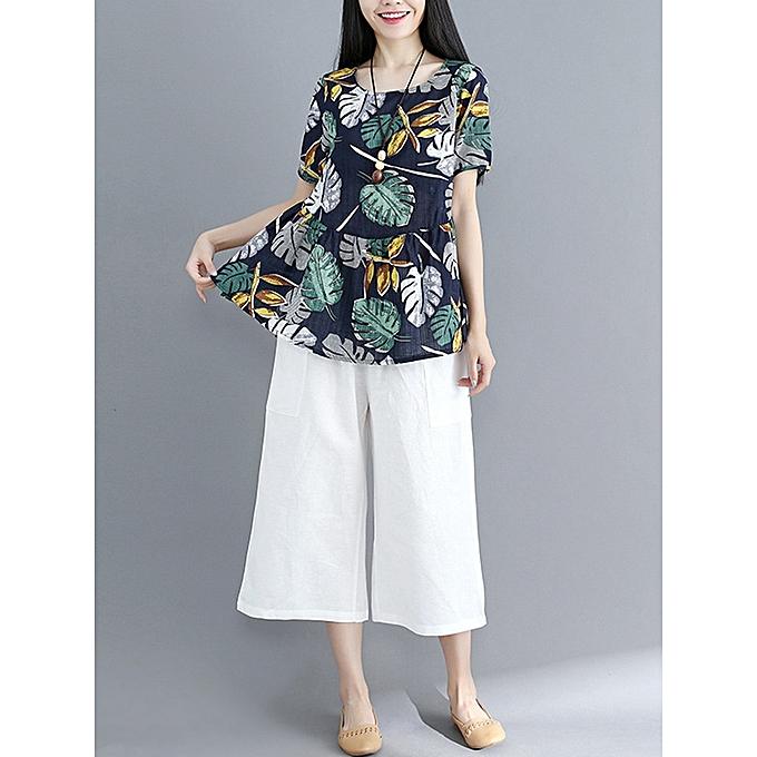 Fashion Chemisier occasionnel féminin imprimé floral en coton à ourlet irrégulier à prix pas cher