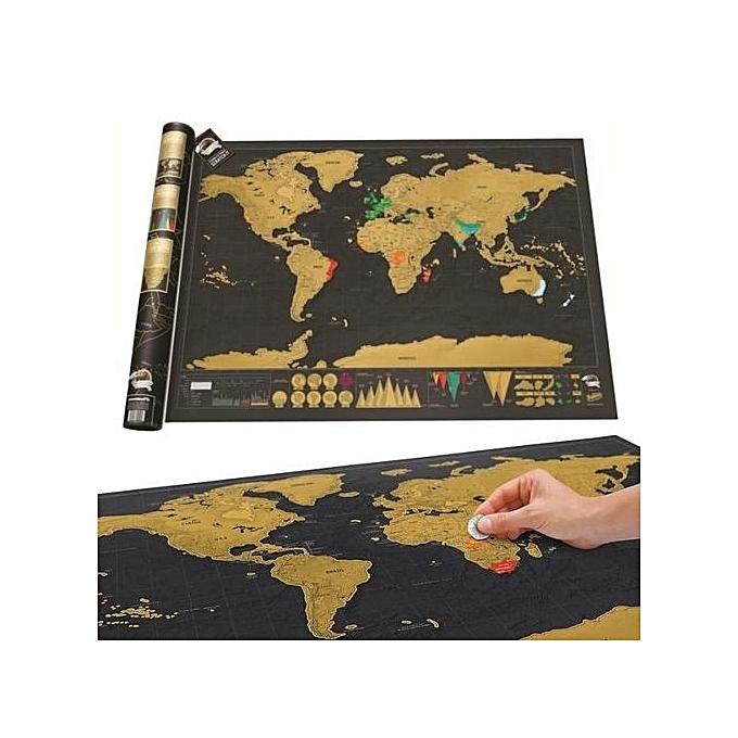 bleuLife Scratch Card World Map 82.5  61.2 Cm - noir & jaune à prix pas cher