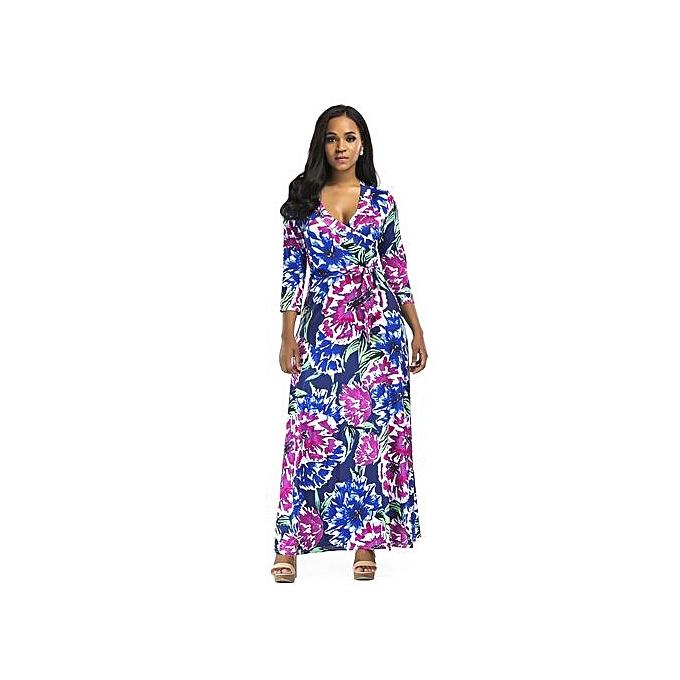 Fashion femmes Elegant Midi-Sleeve V-neck Slim Print Floral Autumn Dresses Party Odycon Floot Length Maxi Dresses-bleu violet à prix pas cher
