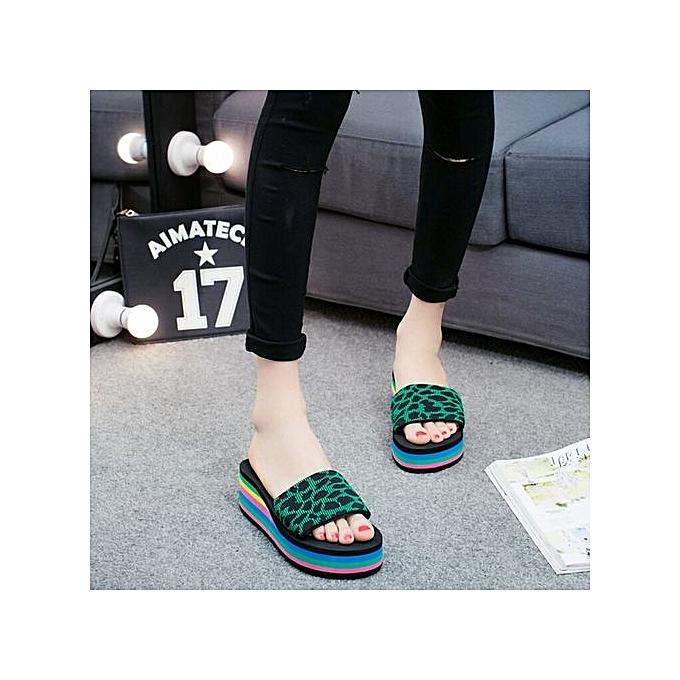 Fashion Wohommes Summer Leopard Print Casual Slides EVA Soft Flip Flops Wedge Heels Slipper-vert à prix pas cher
