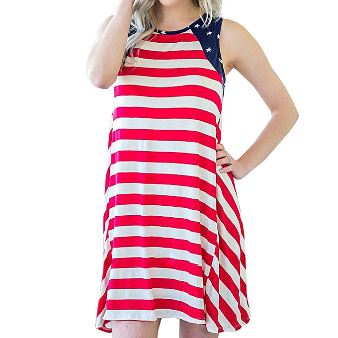 Generic Fovibery femmes Independence Day Sleeveless Stripe Print Dress  Pencil Furcal Dress à prix pas cher