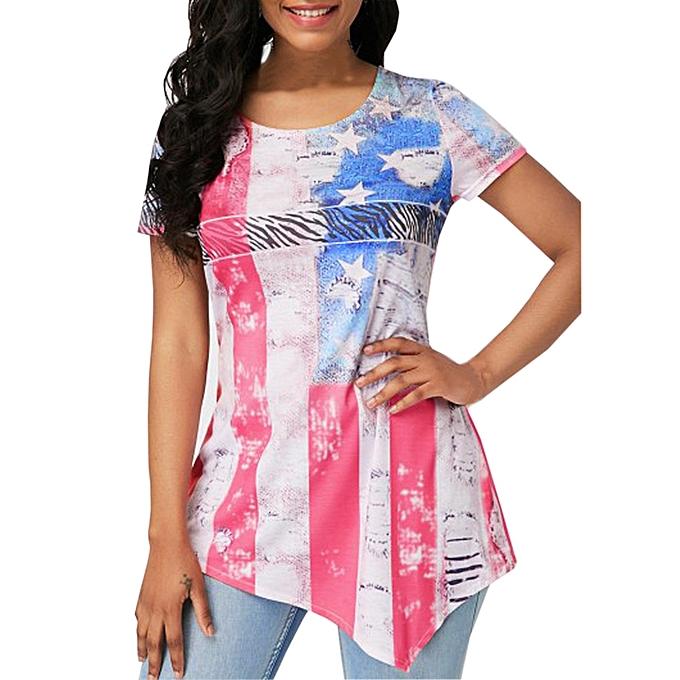 Generic Generic femmes Summer Short Sleeve O Neck Flag Print Irregular Casual Blouse Shirt A1 à prix pas cher