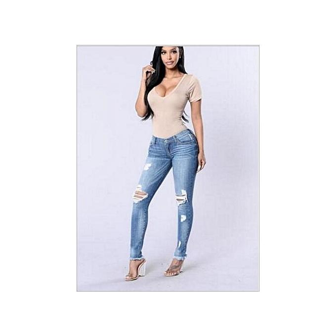 Generic mode Holes Legs Stretch Jeans female Décontracté pocket skinny pencil jean pants jeans femmes trousers-lumière bleu à prix pas cher