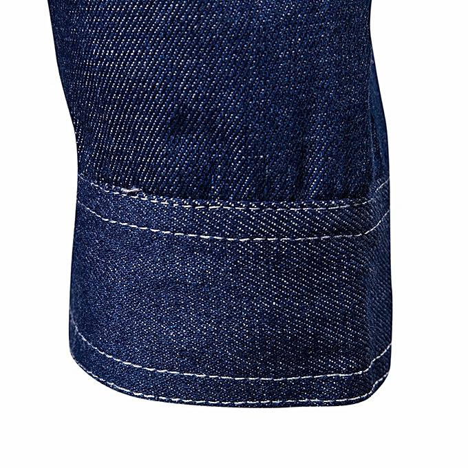 Fashion jiuhap store Men's Autumn Cowboy Slim Long Sleeved Denim Solid Blouse Hoodies  Jacket à prix pas cher