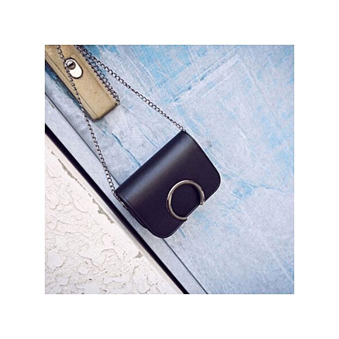 Siketu mode femmes cuir chaîne Handsac Cross Body Single Shoulder Phone sac BK- noir à prix pas cher