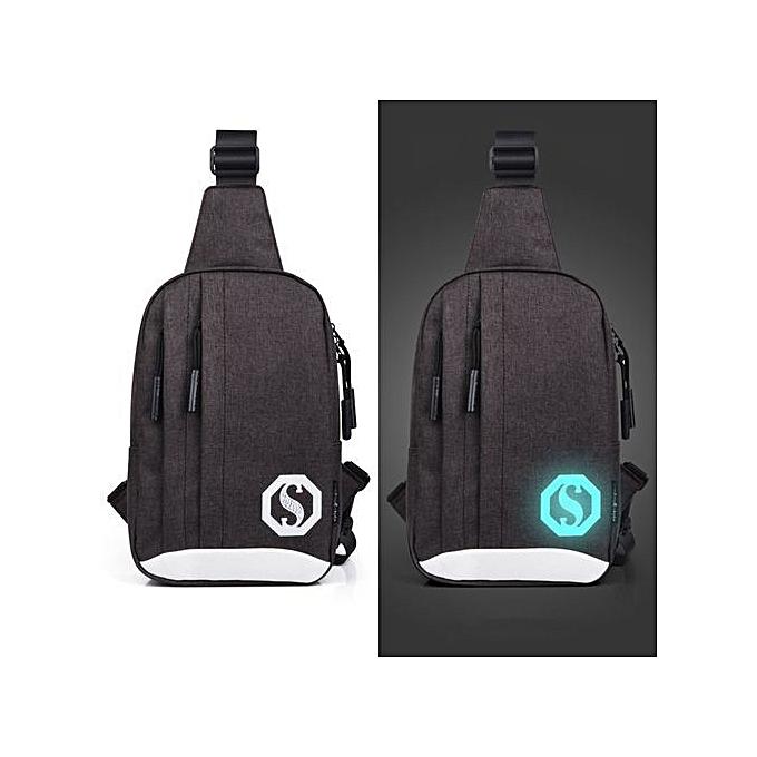 Duoya Fashion Oxford Noctilucent Shoulder Bags Chest Crossbody Bag DC-Dark Coffee à prix pas cher