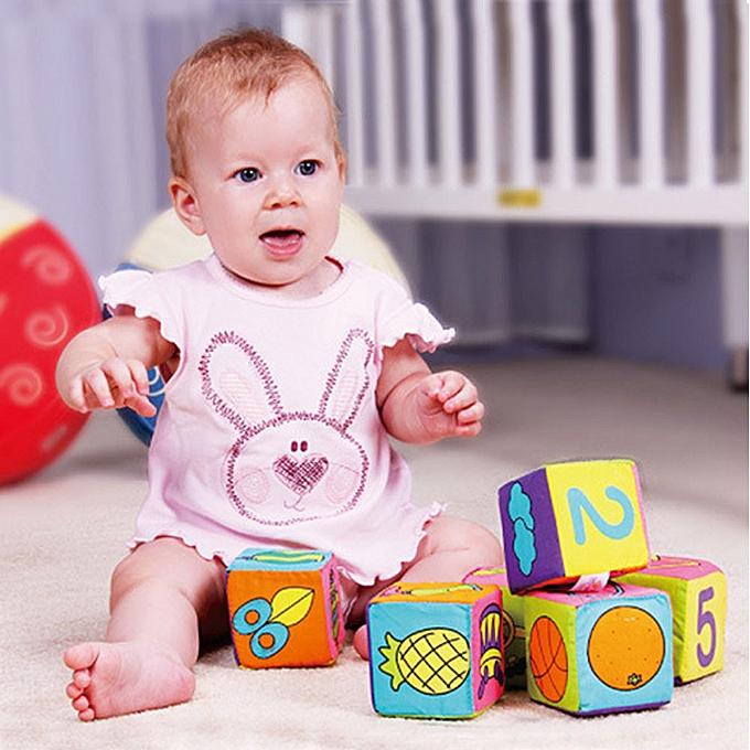 Generic nouveau Infant   Soft Cloth Building Blocks Educational Toys Rattles 6pcs  Set à prix pas cher