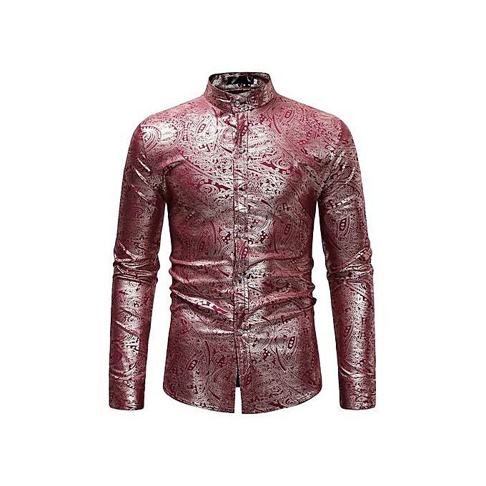 AFankara Luxury or Gilding Printed Casual Men Shirt - rouge à prix pas cher