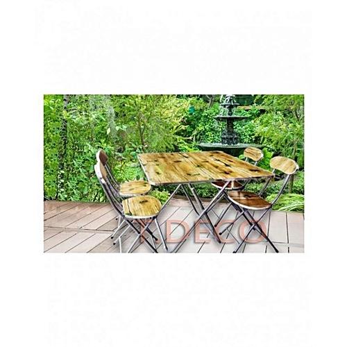 Salle à manger mdf aluminium pliable table avec 4 chaises