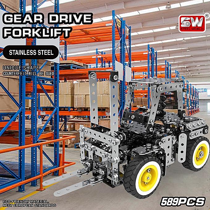 Autre DIY acier inoxydable Assembly Building Blocks Transmission Forklift voiture Model Puzzle Educational Toys Gift for Enfants 589pcs à prix pas cher