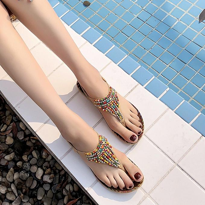 Fashion (Xiuxingzi) femmes Ladies String Bead Casual Beach chaussures Sandals à prix pas cher    Jumia Maroc