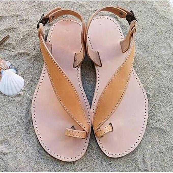 Other été mode Leisure Sandals Big Taille Flat Bright cuir Slippers-marron à prix pas cher