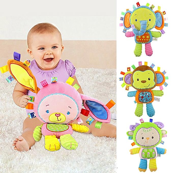 Autre 9 Styles   Toddler Plush Rattles Toys Appease Doll Infant Hand Bells nouveauborn elephant monkey rabbit Animal Soft Cotton Toy(B  key) à prix pas cher