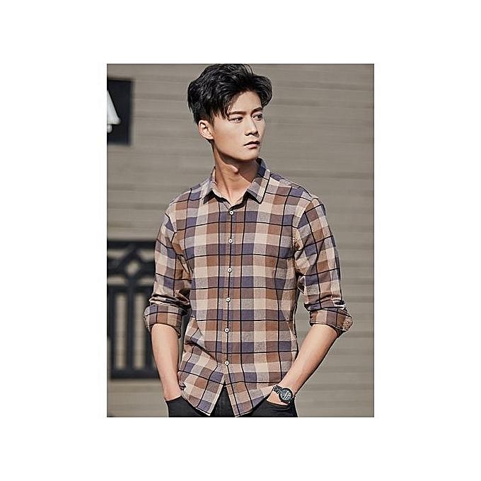 mode Hommes& 039;s Lapel manche longue Hommes& 039;s Shirts Cotton Retro Décontracté Shirts Hommes& 039;s Plaid Shirts-marron à prix pas cher