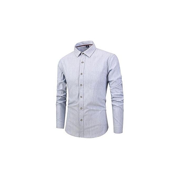 mode Autumn And Winter Hommes& 039;s Shirt nouveau Cotton Couleur Spinning Lattice Slim Décontracté Long-sleeved Shirt Male-lumière bleu à prix pas cher