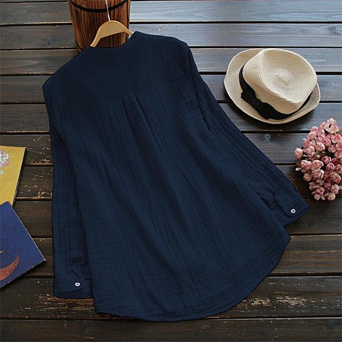 OEM nouveau femmes& 039;s solid Couleur wild long-sleeved collar shirt with grand cotton shirt-bleu à prix pas cher
