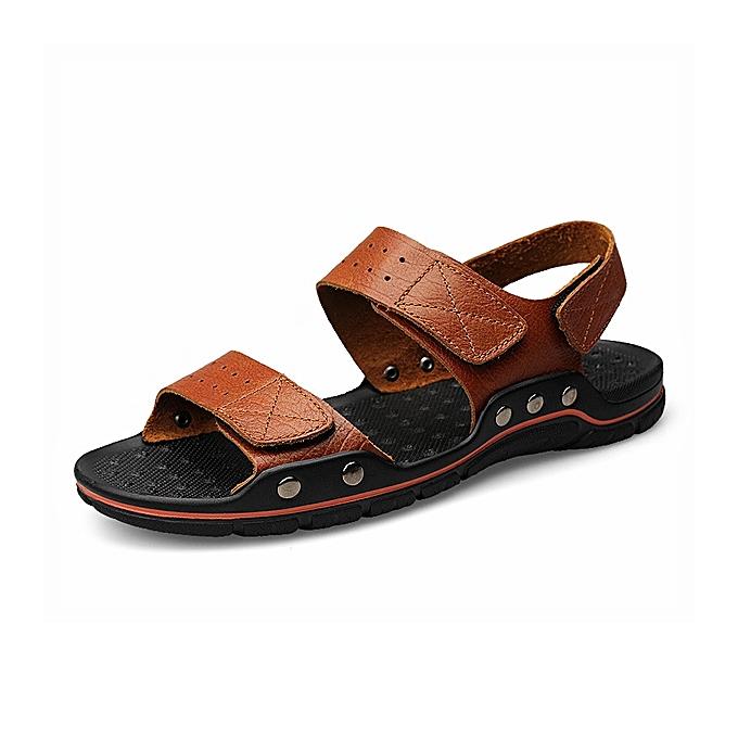 Fashion Large Taille Men Comfy Breathable Genuine Leather Hook Loop Sandals chaussures à prix pas cher
