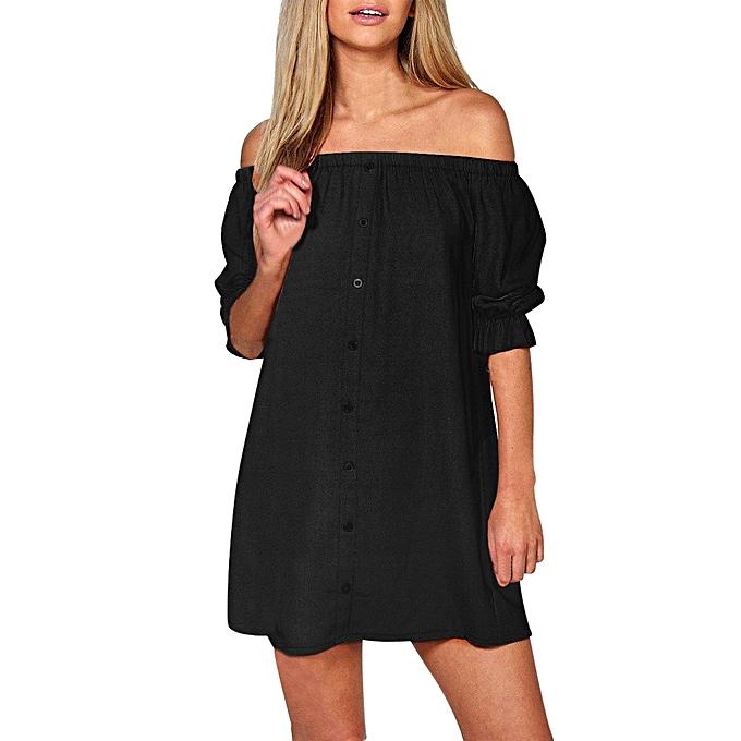 Fashion femmes Ladies Off Shoulder Button Mini Dress Evening Shirt Dress BK L à prix pas cher
