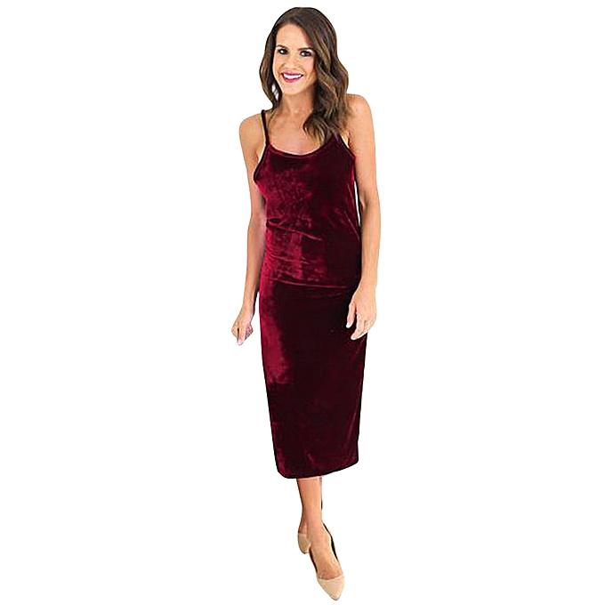 Fashion TCE femmes Sleeveless Velvet Dress Casual Long Dress L à prix pas cher