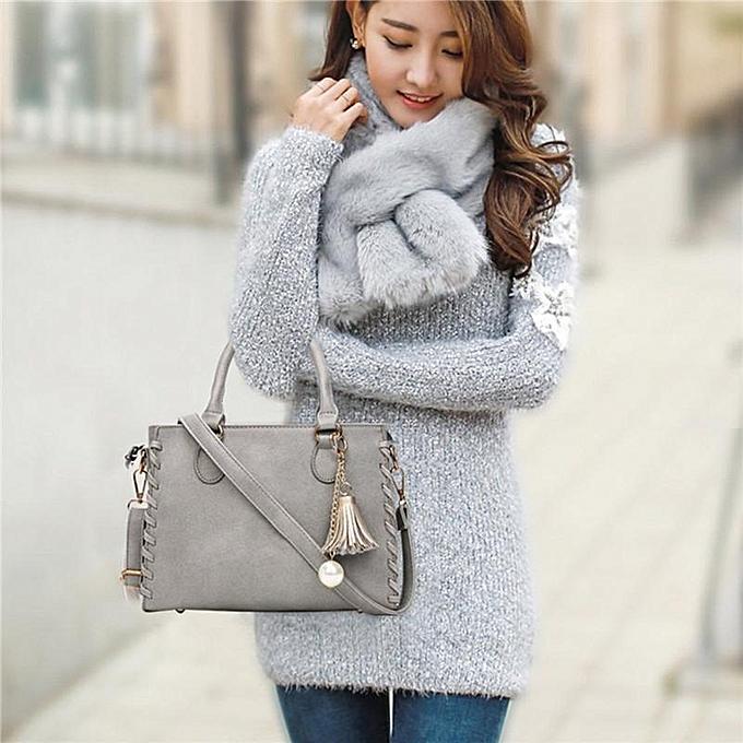 Fashion femmes Leather Tassels Handbag Shoulder Crossbody Bag Tote Messenger Satchel Hot gris à prix pas cher