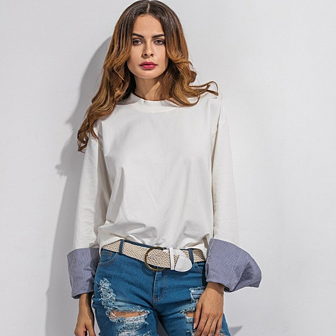 Fashion Hiamok Fashion Ladies Crew Neck Sweatshirt Casual Bat type sleeves Long Sleeve Top M à prix pas cher