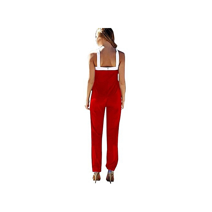 Eissely femmes mode Halter Long Jumpsuits Cross Sleeveless Bodycon Playsuits RD L-rouge à prix pas cher